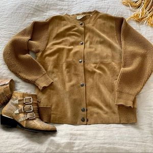 Vintage & Perfect Suede & Knitted Tan Jacket Sz M